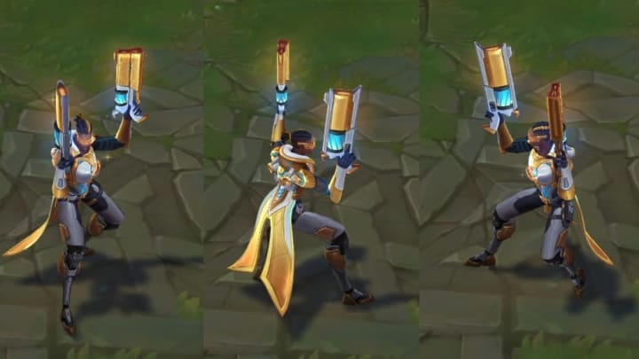 Pulsefire Lucian Prestige Edition turnarounds show the skin in-game.