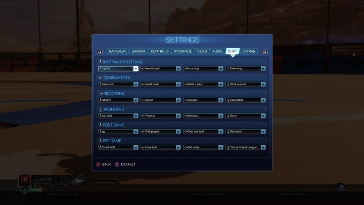 Rocket League Game Chat Settings