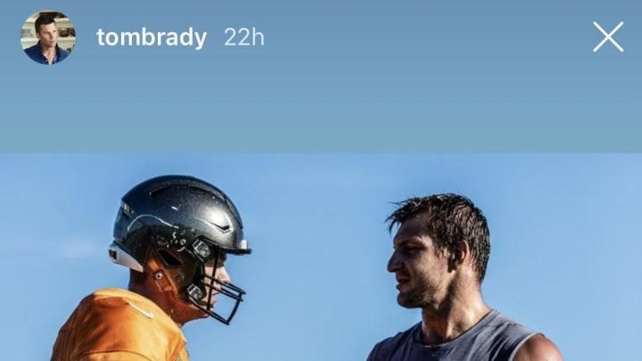 Tom Brady and Rob Gronkowski on social media, sans social distancing.