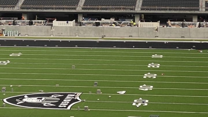 The Allegiant Stadium interior is starting to show some of its silver and black theme to come.
