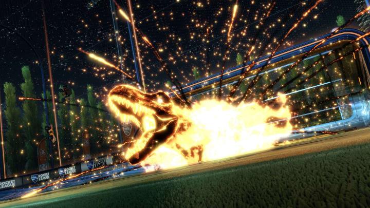 Rocket League T. rex goal explosion from Jurassic World DLC Pack