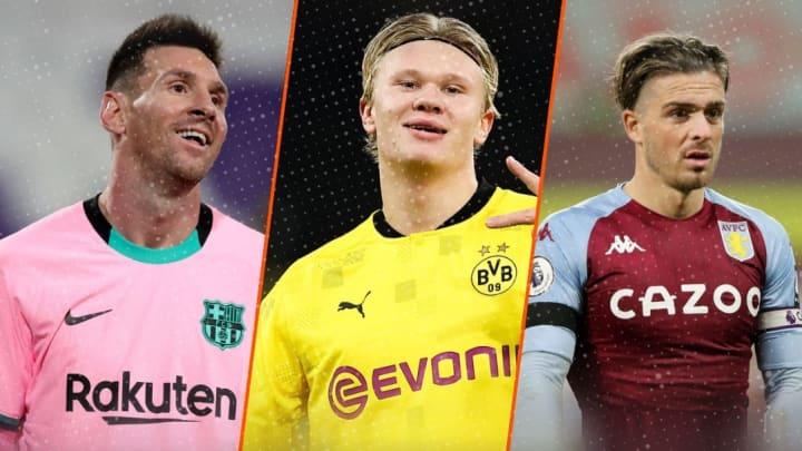 Lionel Messi, Erling Haaland et Jack Grealish.