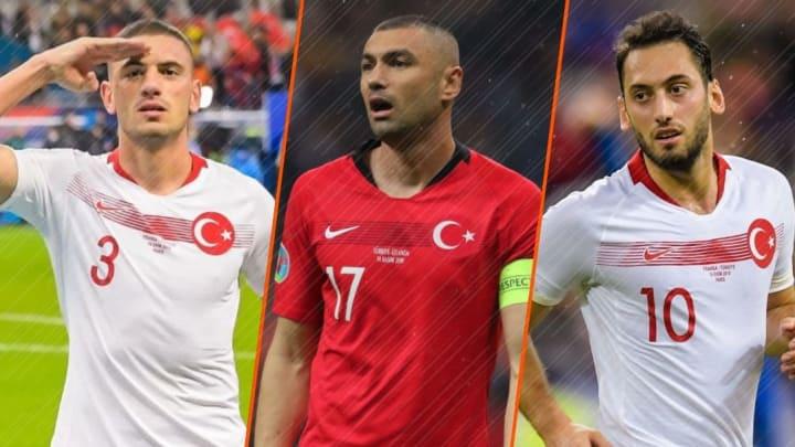 Merih Demiral, Burak Yilmaz et Hakan Calhanoglu.