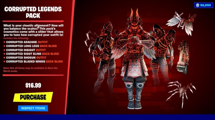 Fortnite Corrupted Legends cosmetic bundle leaked by data miners