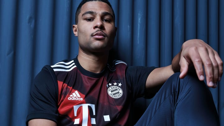 Serge Gnabry wearing new Bayern Munich third shirt