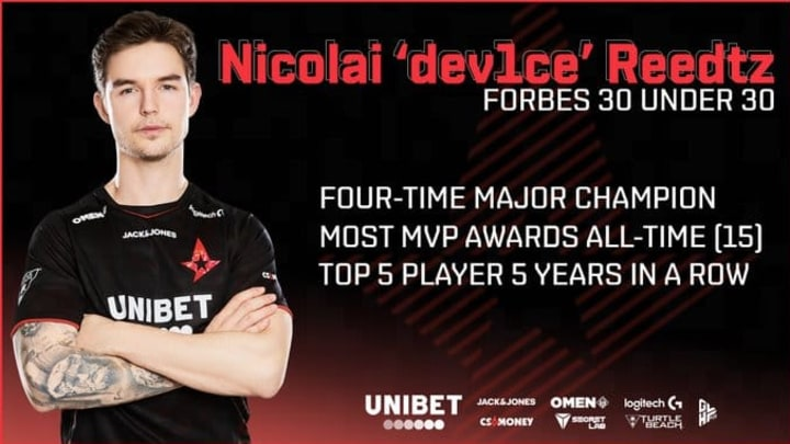 """Astralis' Nicolai """"dev1ce"""" Reedtz was named in the Forbes 30 Under 30"""