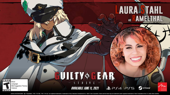 Laura Stahl replaced Erin Fitzgerald as Ramlethal's voice actress in Guilty Gear Strive.