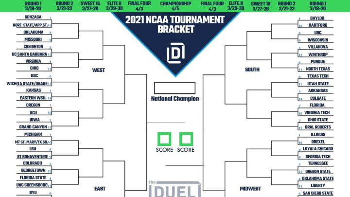 Printable bracket for the 2021 NCAA Men's Basketball Tournament.