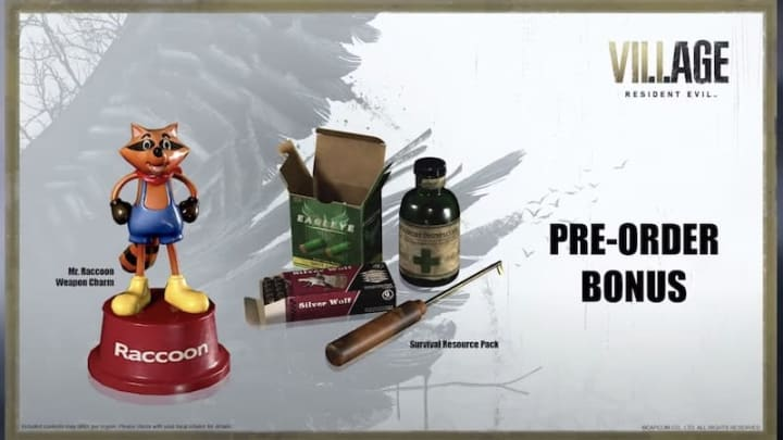 Items included in Resident Evil Village Pre-Order bonus items. Mr. Raccoon Weapon Charm and Survival Resources Pack