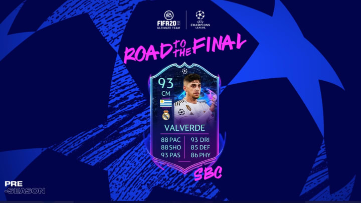 Federico Valverde FIFA 20 UCL Road to the Final SBC is now available to be completed for a limited time.