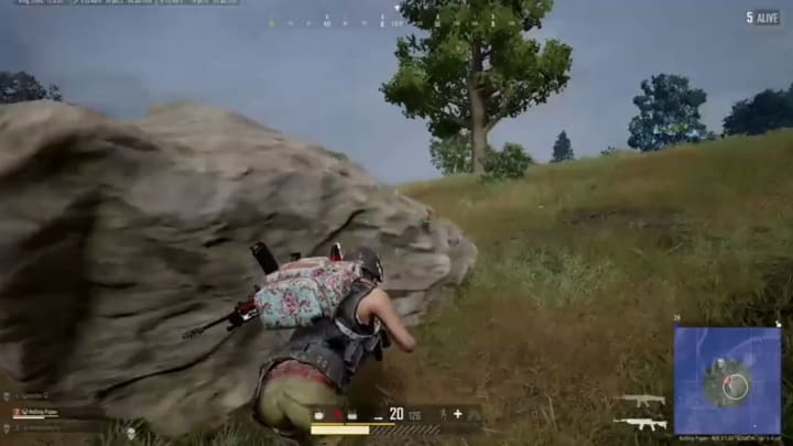 This PUBG player survived without real cover to win their match.