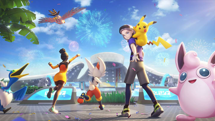 Loading screen from Pokemon UNITE, showcasing playable characters like Cramorant, Talonflame, Cinderace, Pikachu, and WIgglytuff