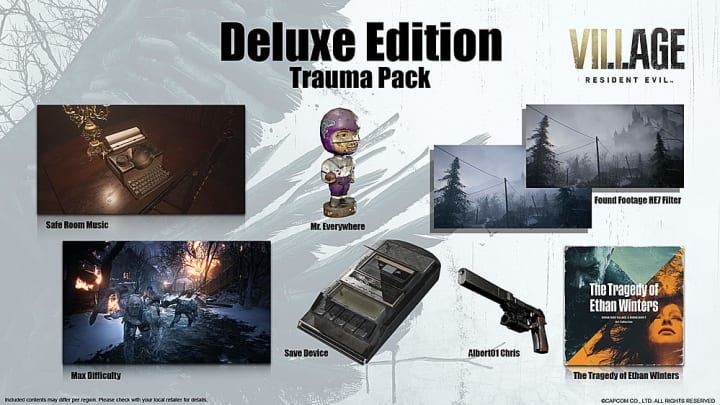 "Resident Evil Village's Deluxe Edition, known as the ""Trauma Pack"" and all of its contents"