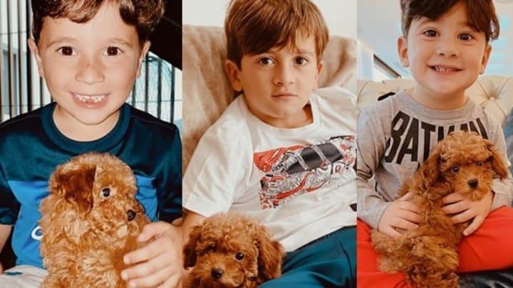 Los hijos de Lionel Messi junto a Abú, el nuevo amigo de la familia.
