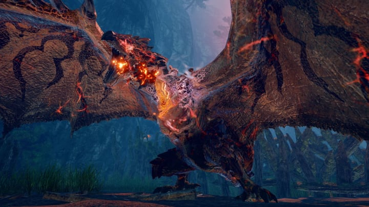 Locking on to a monster helps players aim better during a hunt.