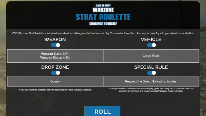 A Warzone Routette example roll