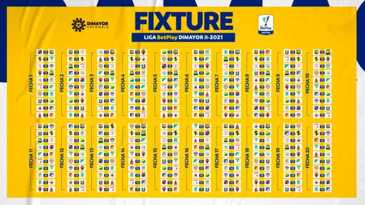 Fixture oficial de la Liga DIMAYOR