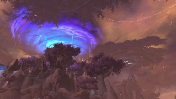 Mists of Tirna Scithe from afar, one of eight dungeons in Shadowlands