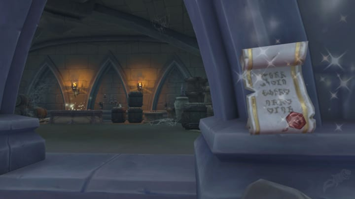 The note right out front of the The Harvest Chest treasure room that instructs you on where to go, resets daily.