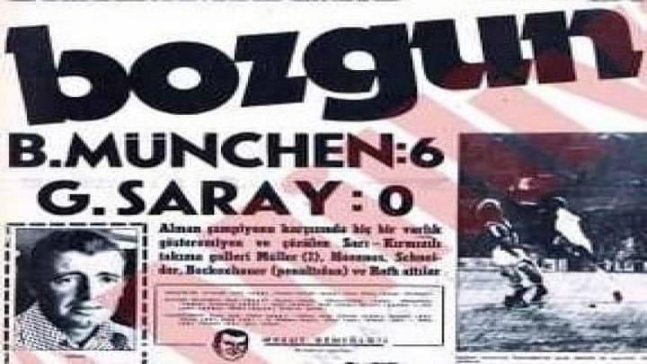Galatasaray'ın Bayern Münih yenilgisi sonrası bir gazete küpürü.