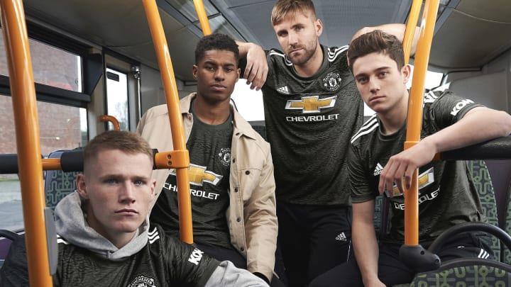 (L-R) McTominay, Rashford, Shaw & James in new Man Utd away kit