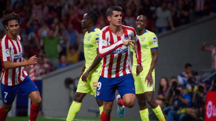 Morata celebrates goal during the La Liga victory over Getafe in 2019.