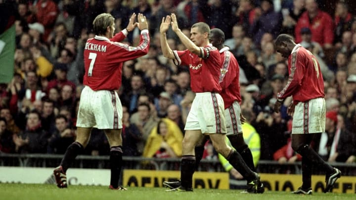 David Beckham and Roy Keane with Manchester United in 1999