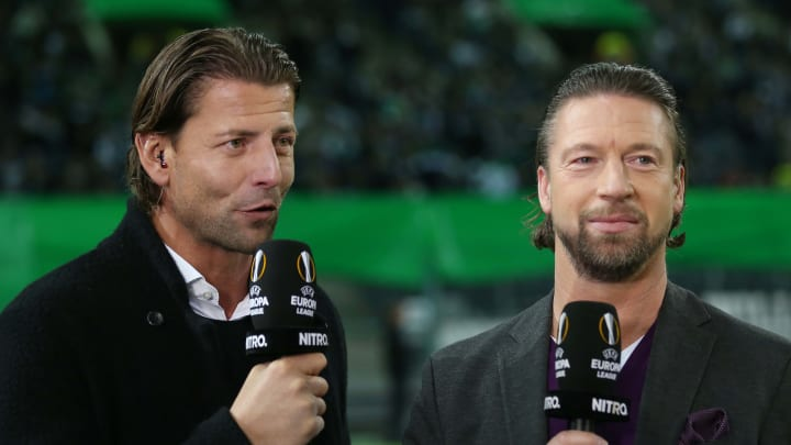 Steffen Freund (r.) als TV-Experte mit Roman Weidenfeller
