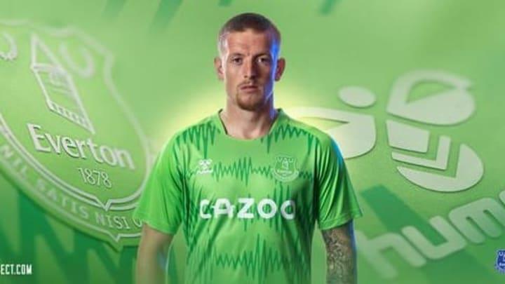 Jordan Pickford models the new goalkeeper kit