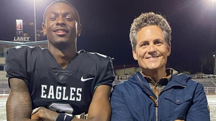 'Last Chance U' director Greg Whiteley (right) with series' star Rejzohn Wright (left)