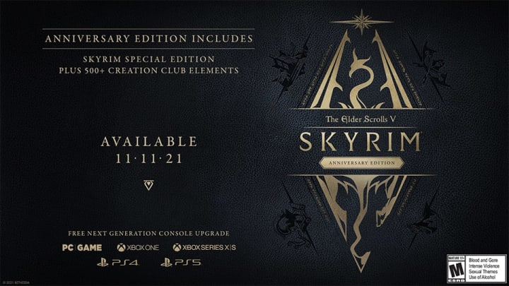 The Elder Scrolls V: Skyrim Anniversary Edition is set to drop on Nov. 11, 2021, 10 years after the open-world RPG's original release.