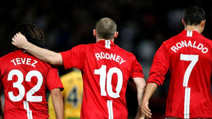 Carlos Tevez, Wayne Rooney and Cristiano Ronaldo