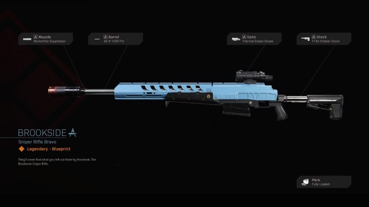 The Brookside Warzone Blueprint makes the HDR sniper rifle even better at long distance combat.