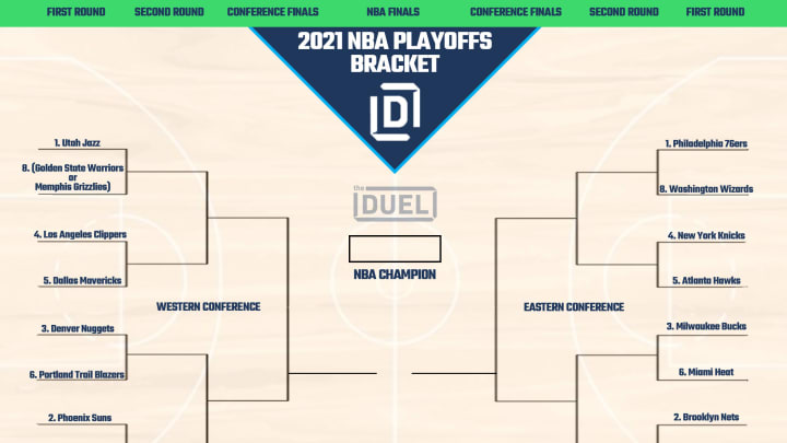 NBA Playoffs printable bracket 2021 with play-in tournament.