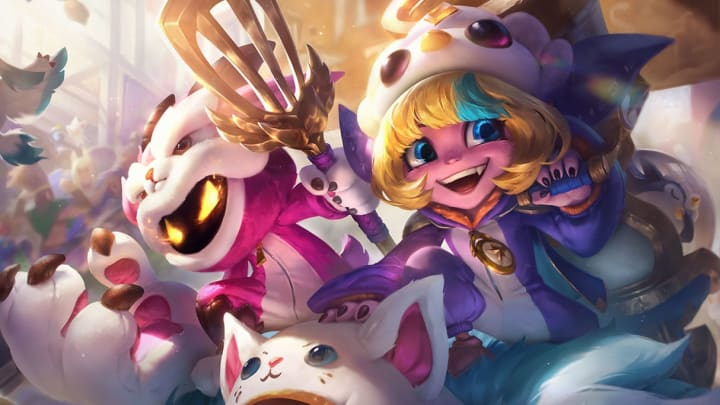 Pengu Cosplay Tristana and Furyhorn Cosplay Veigar splash art.