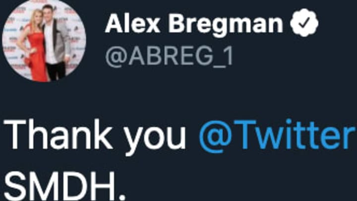 Twitter helped Houston Astros third baseman Alex Bregman get his account back