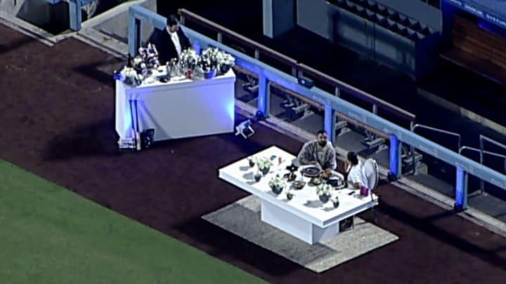 Drake and Johanna Leia on a date at Dodger Stadium