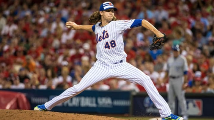 Jacob deGrom pitching in the 2015 MLB All-Star Game