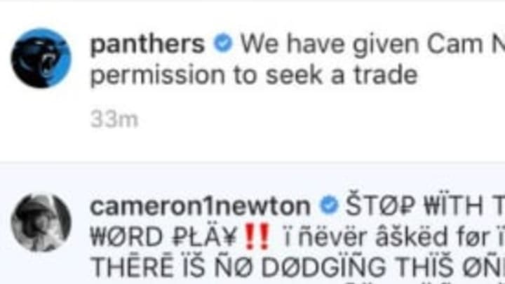 Cam Newton called out the Panthers on Instagram after it was announced he's seeking a trade.