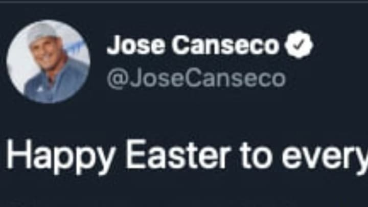 Jose Canseco served up an Easter Sunday jab at Alex Rodriguez via Twitter.