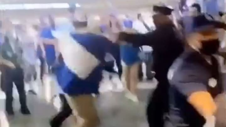 Dodgers fan fights with police officers at Dodger Stadium