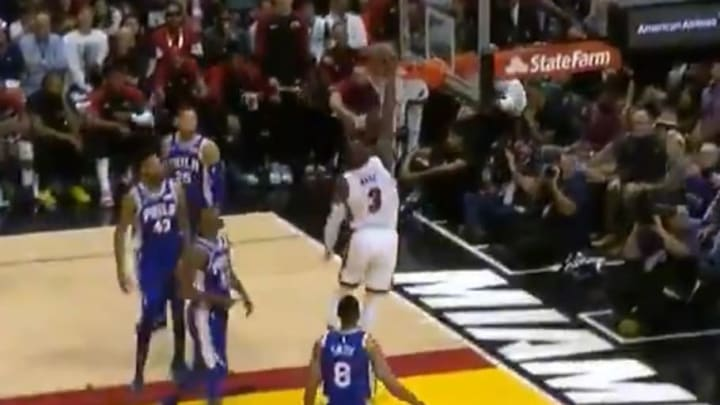 Dwyane Wade slams it home during his last game in Miami with the Heat
