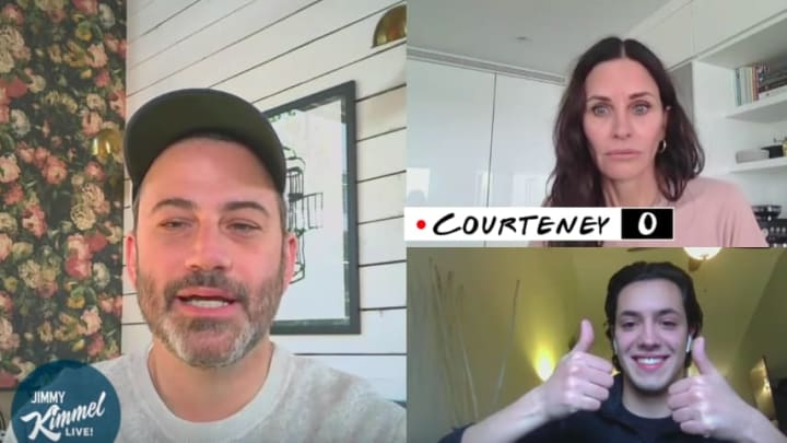 Courtney Cox attempts to do 'Friends' trivia with Jimmy Kimmel and his superfan cousin.