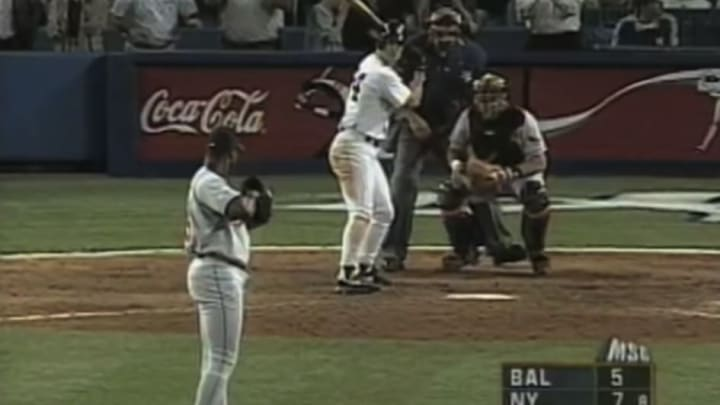 Tino Martinez was hit by a pitch that caused a huge brawl against the Orioles.
