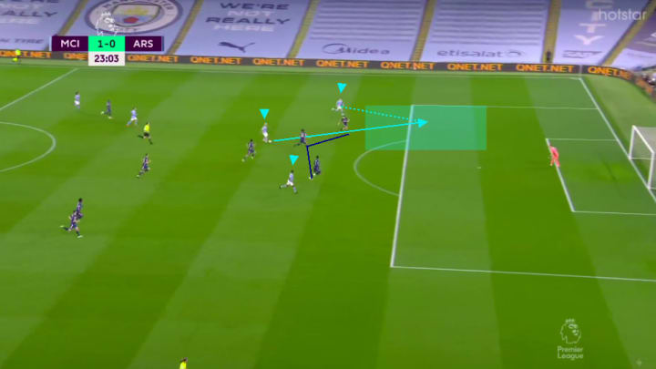 Phil Foden running through on goal vs Arsenal