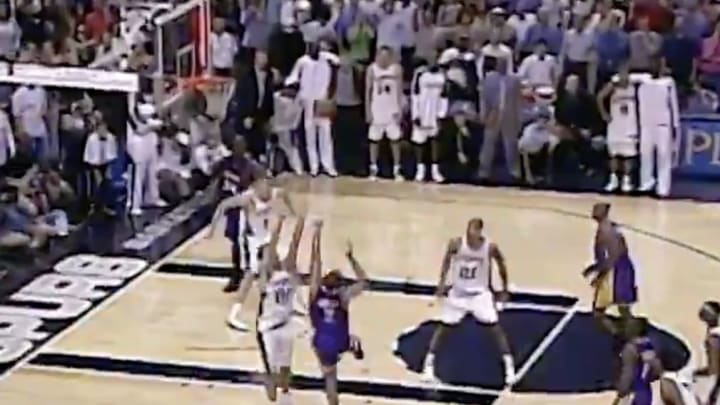 LA Lakers guard Derek Fisher wins Game 5 of the 2004 Western Conference Semifinals against the San Antonio Spurs on a buzzer-beating jumper