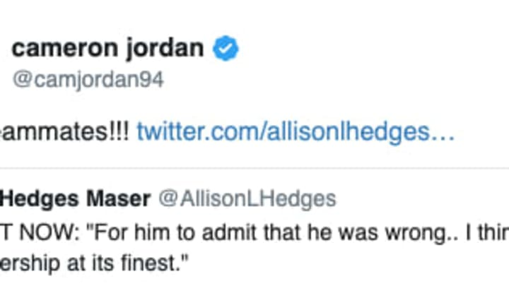 Cam Jordan has backed Drew Brees following his apology on Thursday morning.