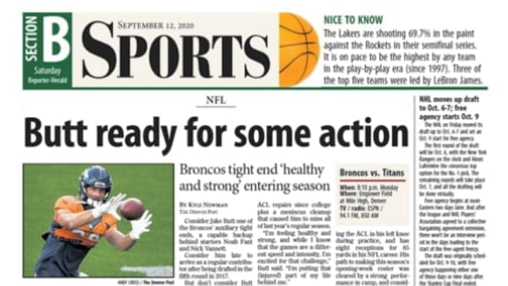 Above the fold of Saturday's sports section in the Loveland Reporter-Herald.