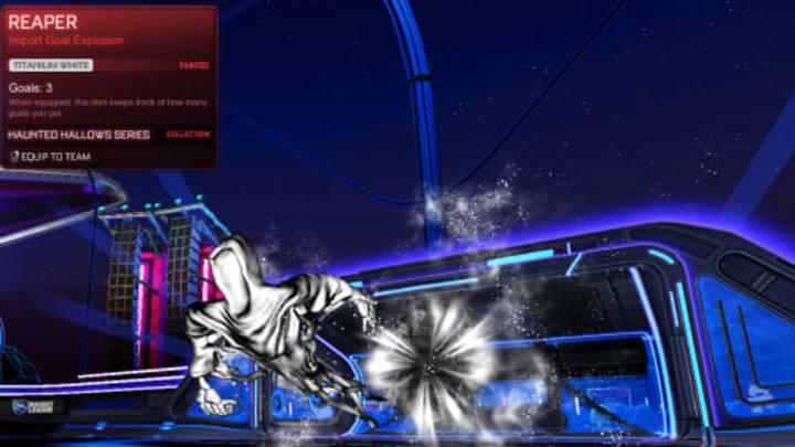 Rocket League Titanium White Reaper painted goal explosion