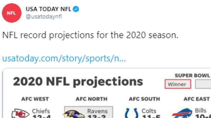 USA Today has to be kidding with its 2020 projections for NFL teams.